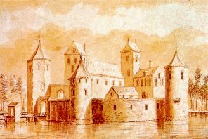 An image of Torenburg Castle, made by A. Rademaker in the 18th century. This drawing is based on the artist's imagination.